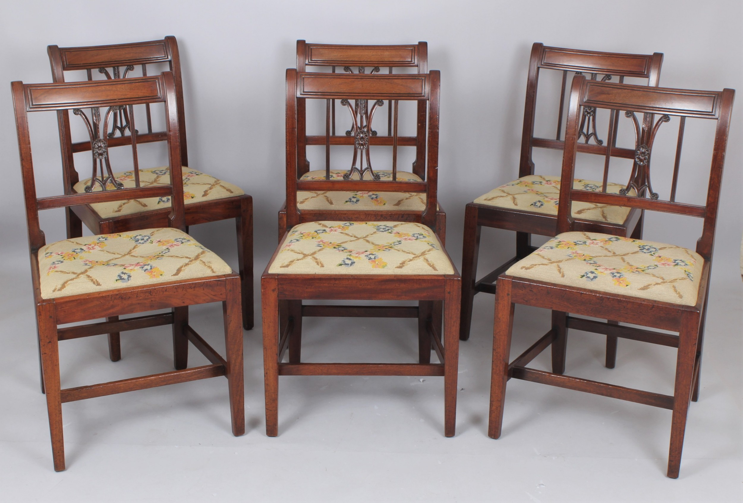 a set of six charming george iii mahogany single dining chairs
