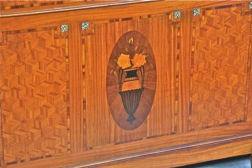 french louis xv1 6' wide marquetry and inlay - photo angle #2