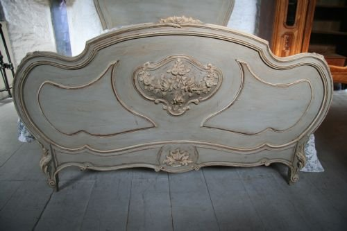 french aged greycream painted double louis xv - photo angle #2