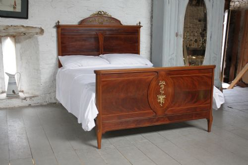 French empire style walnut and mahogany king size bed with for Empire style bed