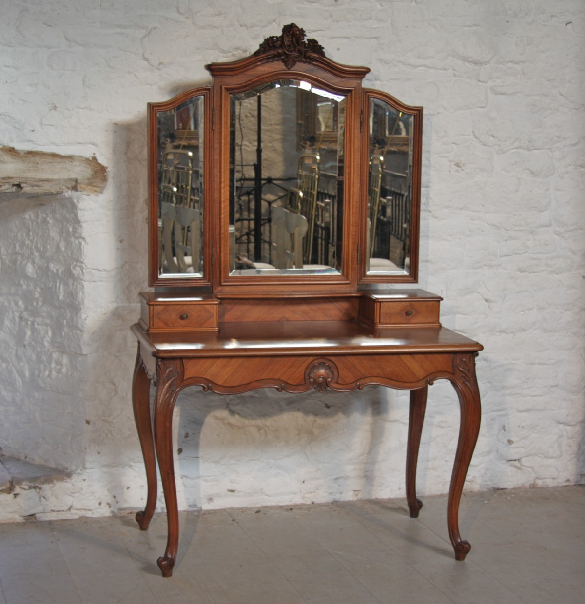 Antique dressing table with mirror - Louis Xv1 Fench Walnut Dressing Table With Triple Mirrors Antique Photo
