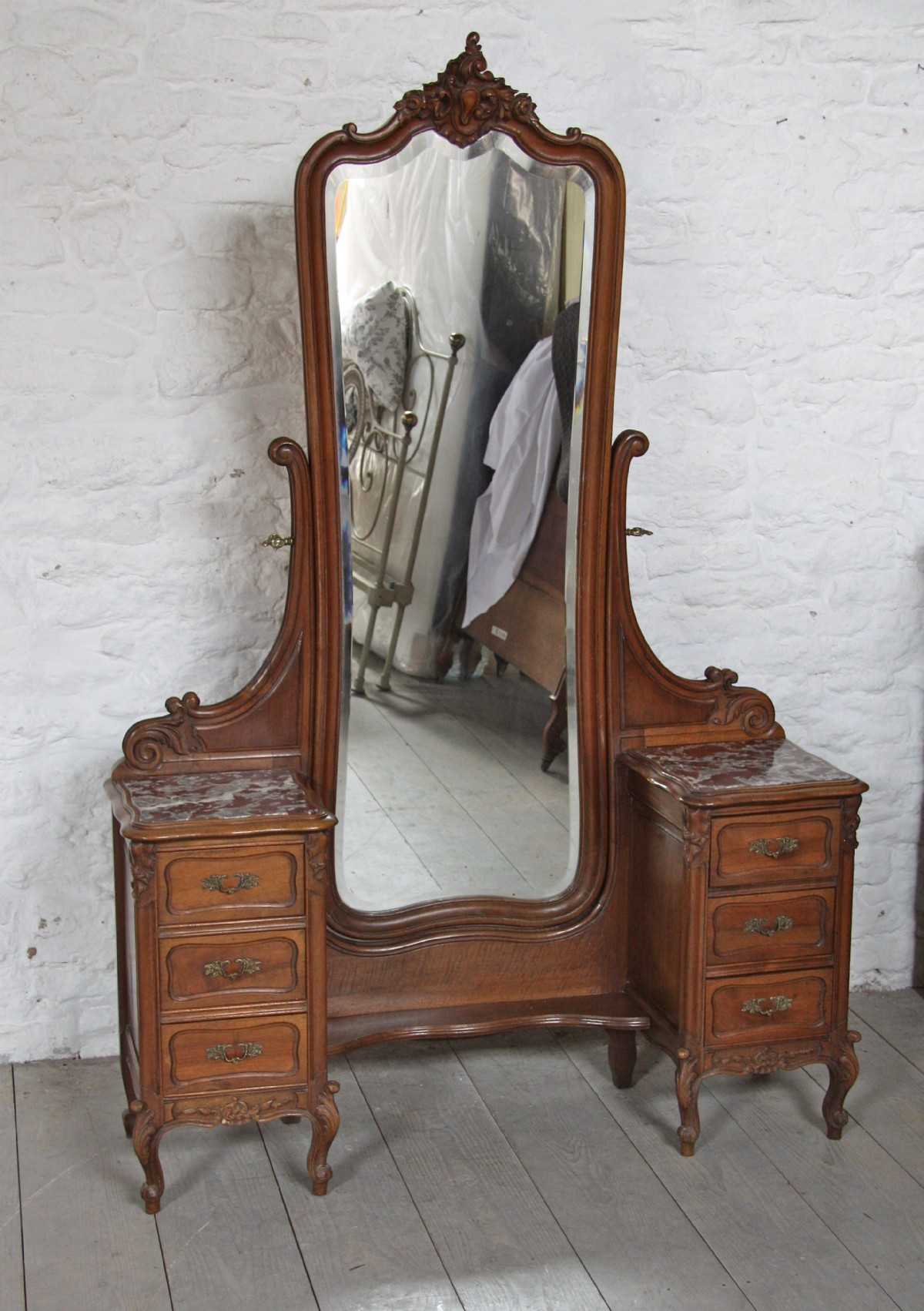Beautiful French Louis Xv Style Walnut Cheval Dressing