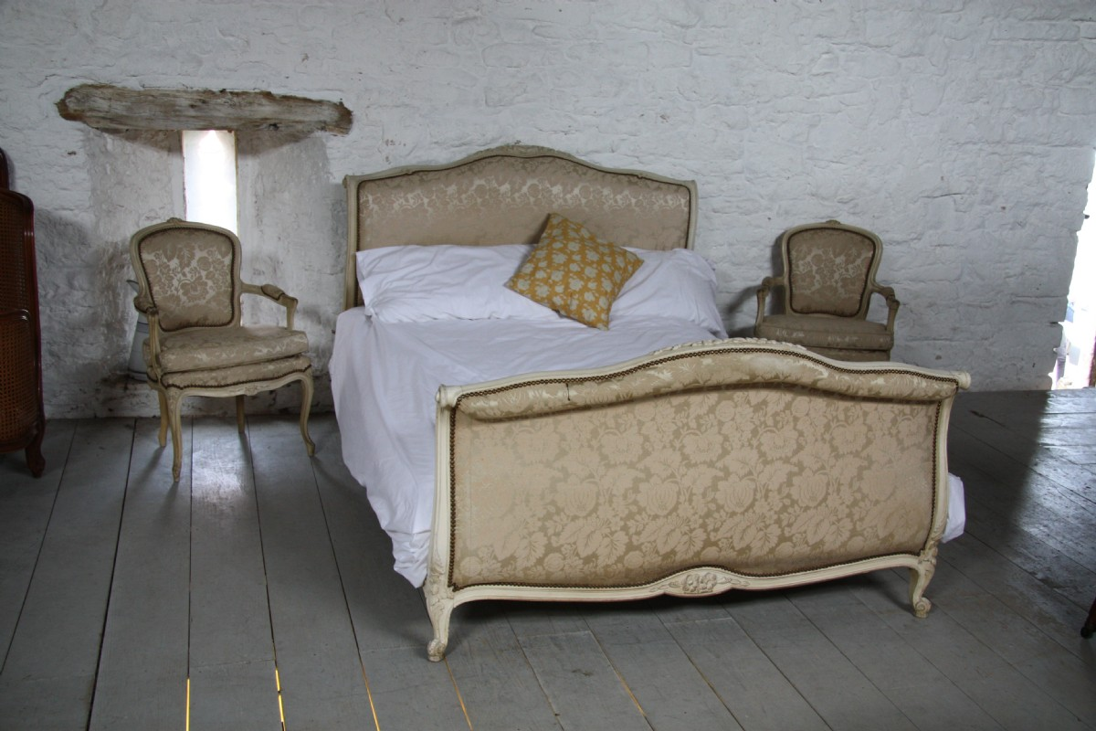 Original French Upholstered Sleigh Roll Top Style Louis Xv ...