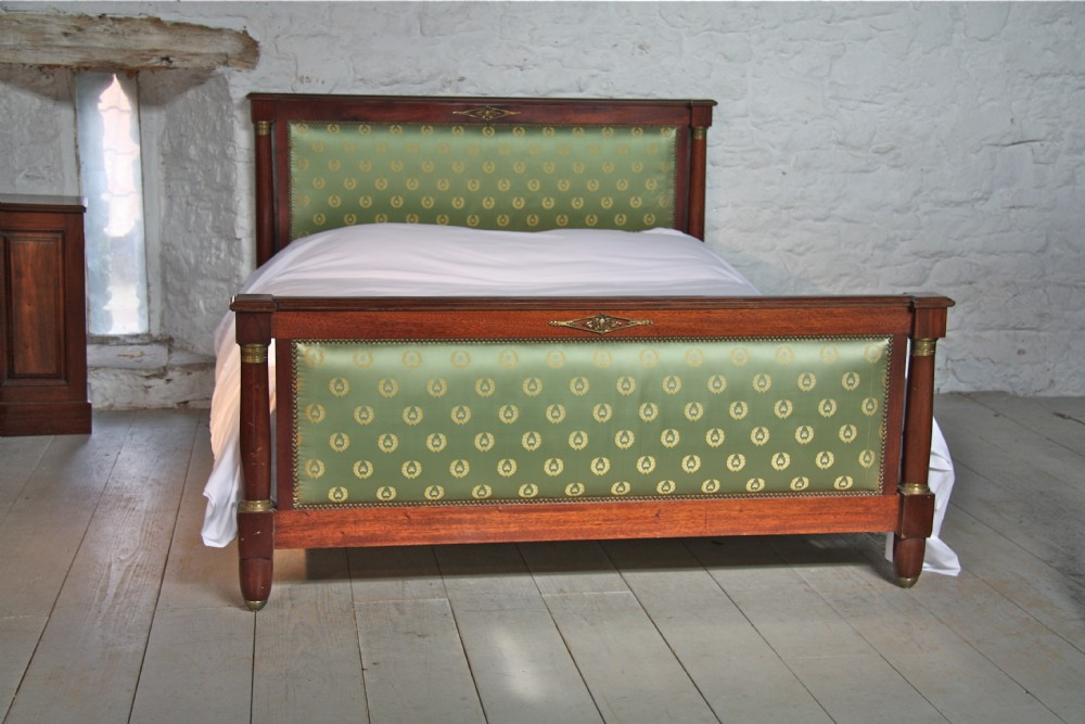 Mahogany frame french empire style bed with silk fabric for Empire style bed