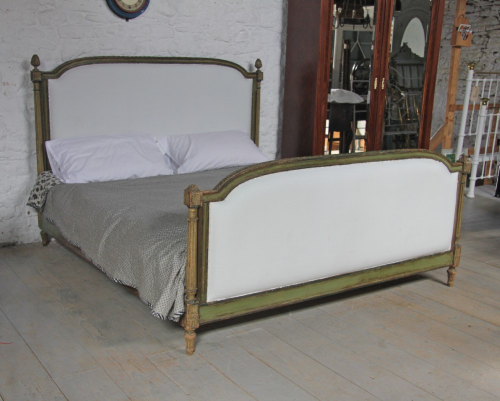 Super King Size Louis Xv1 Style Upholstered Bed With Original Painted Frame 297349