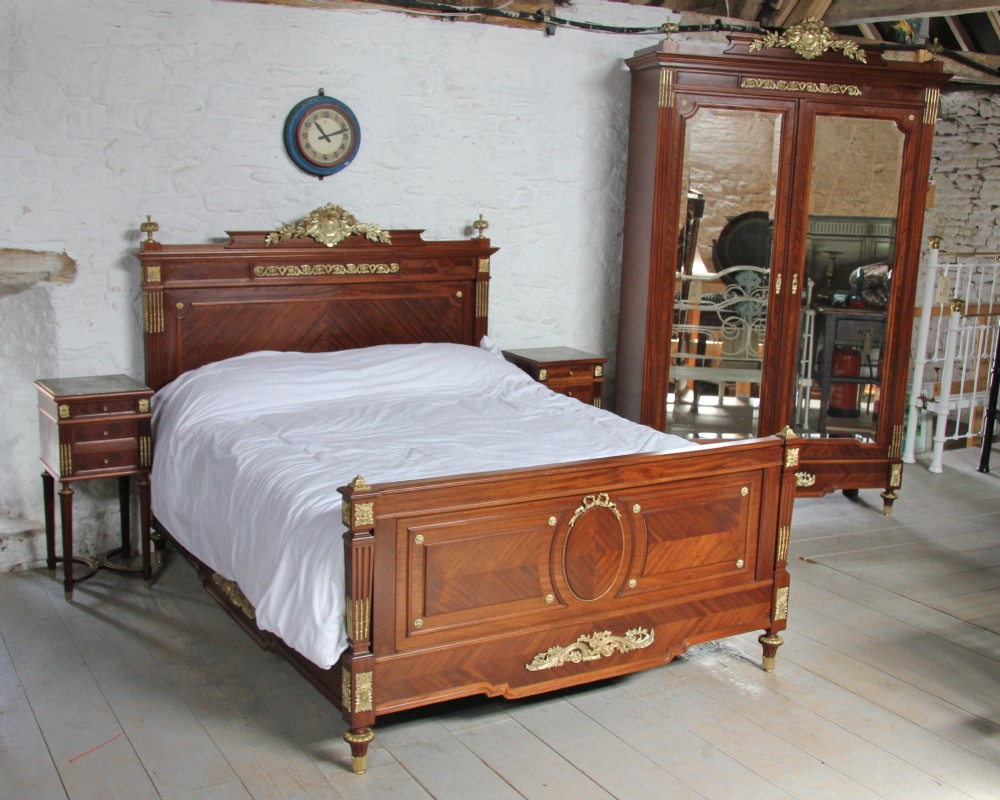 Louis xv1 style bedroom suite with king size bed and armoire and pair of bedsides 298277 for King size bedroom sets with armoire