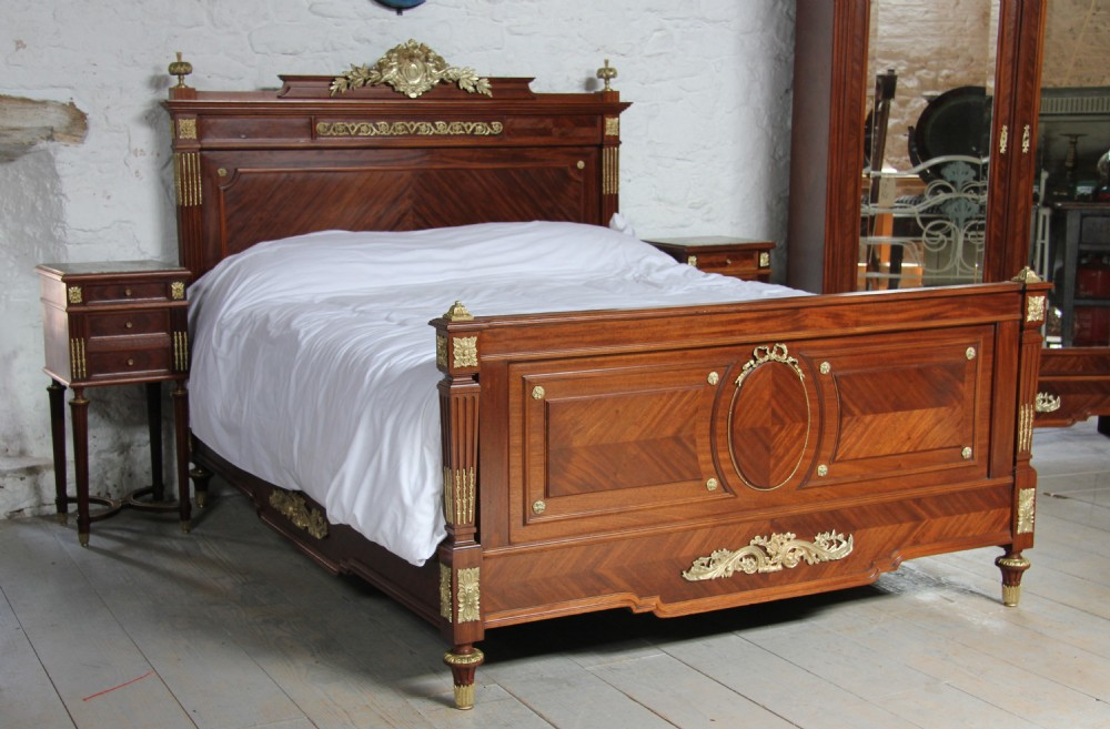 Louis Xv1 Style Bedroom Suite With King Size Bed And Armoire And Pair Of Bedsides 298277