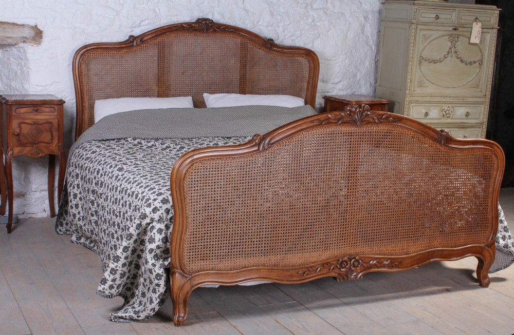 French 6ft Louis Xv Style Super King Size Caned Bed