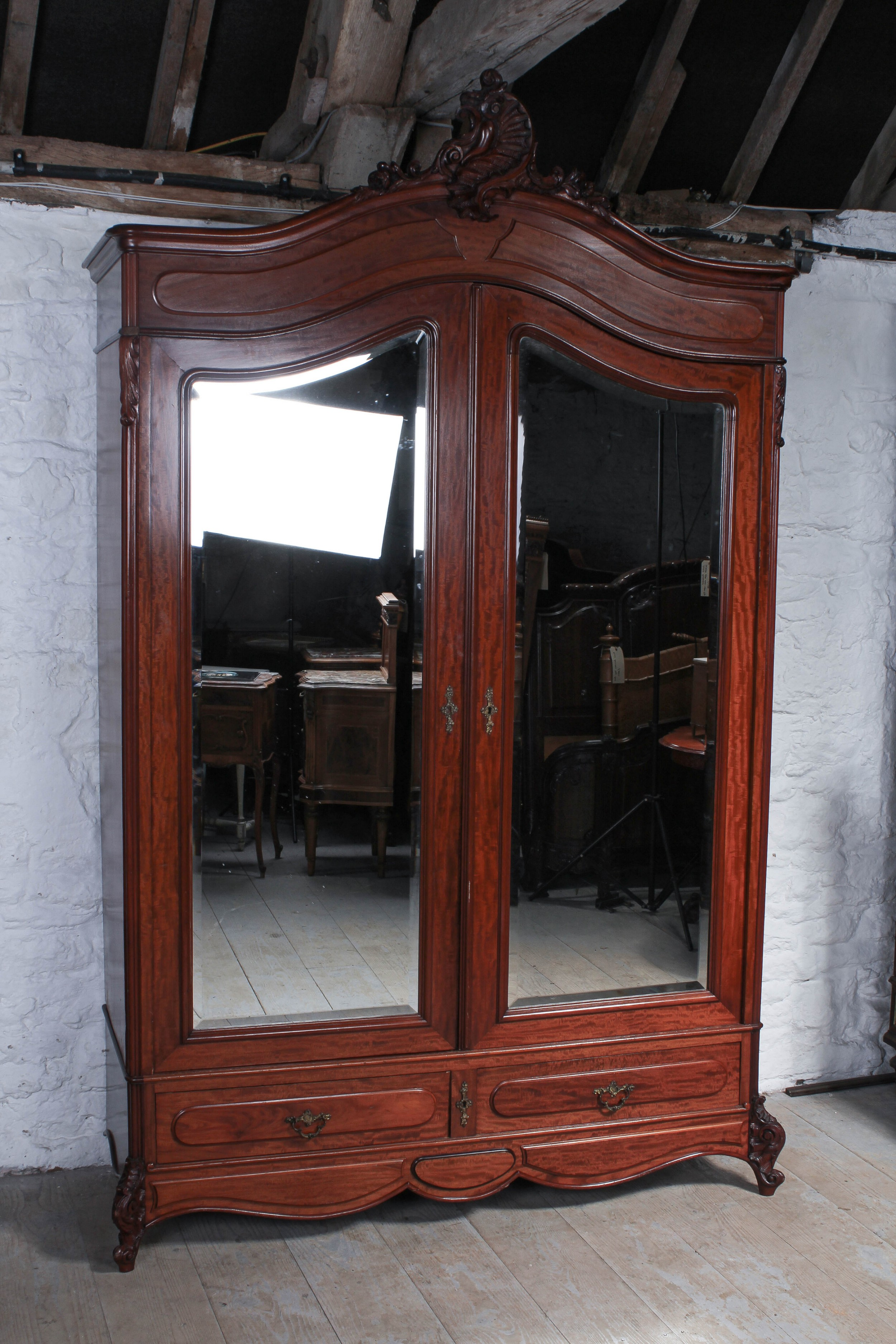 french mahogany louis xv style mirrored two door armoire