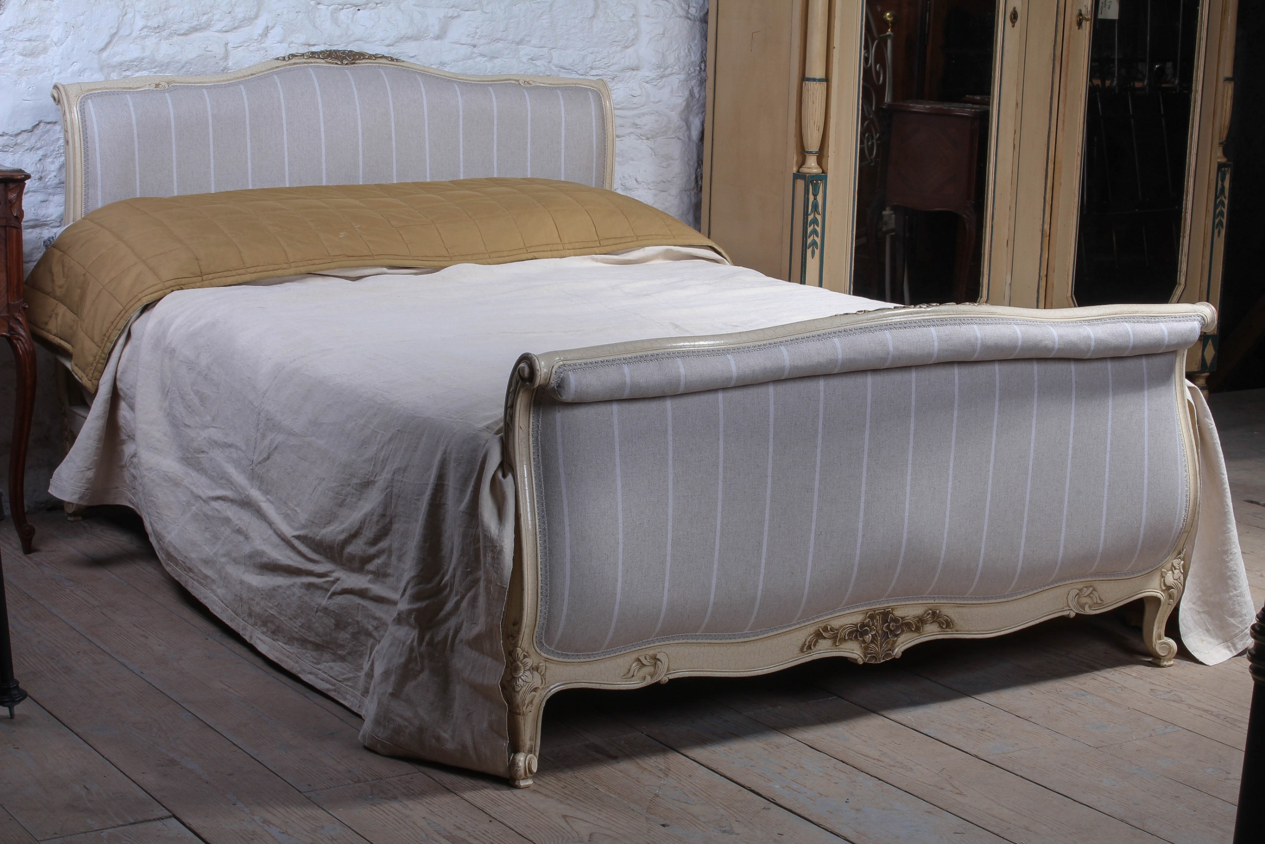 newly upholstered king size french lit