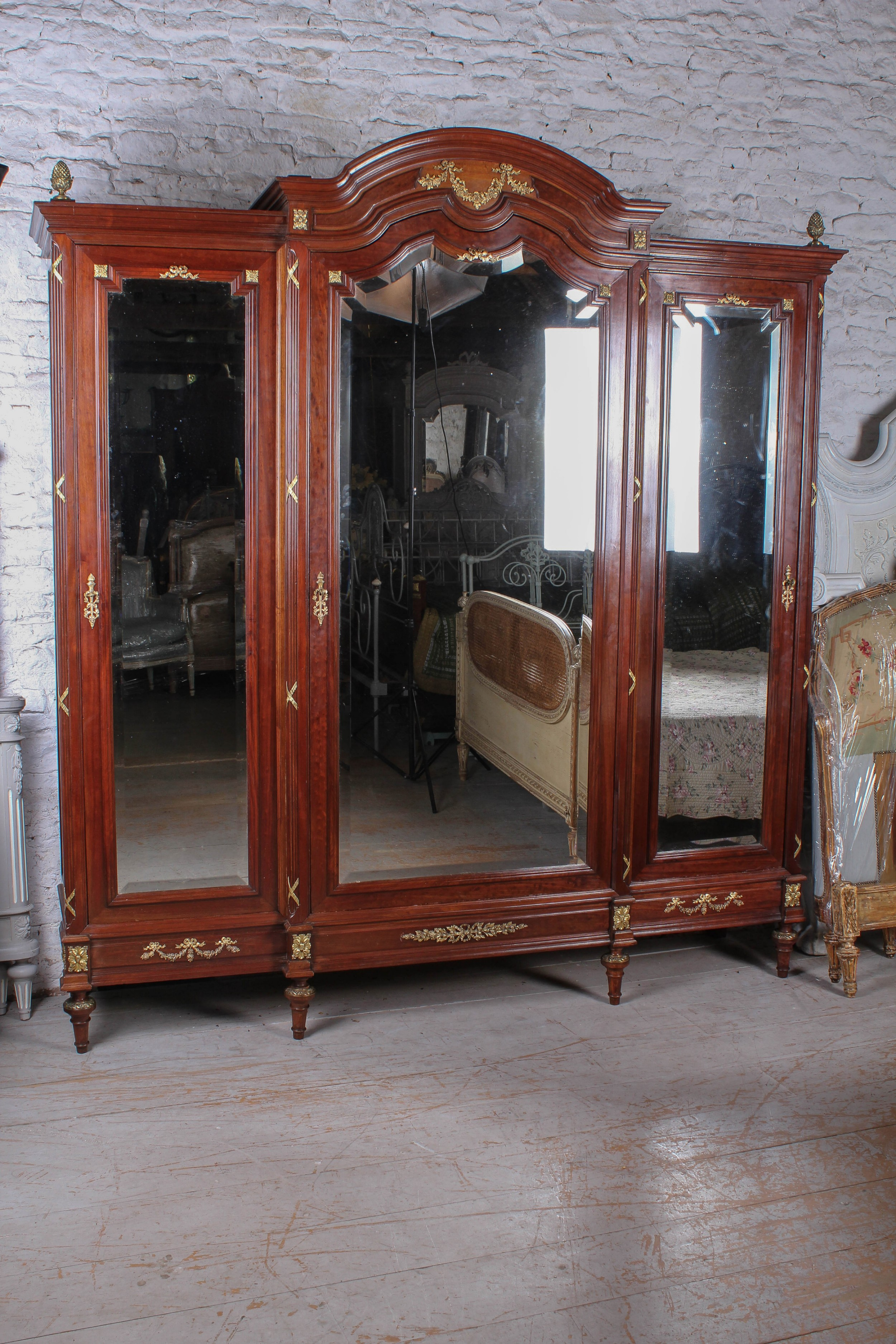 exceptional solid french mahogany and fruit wood three door bedroom suite