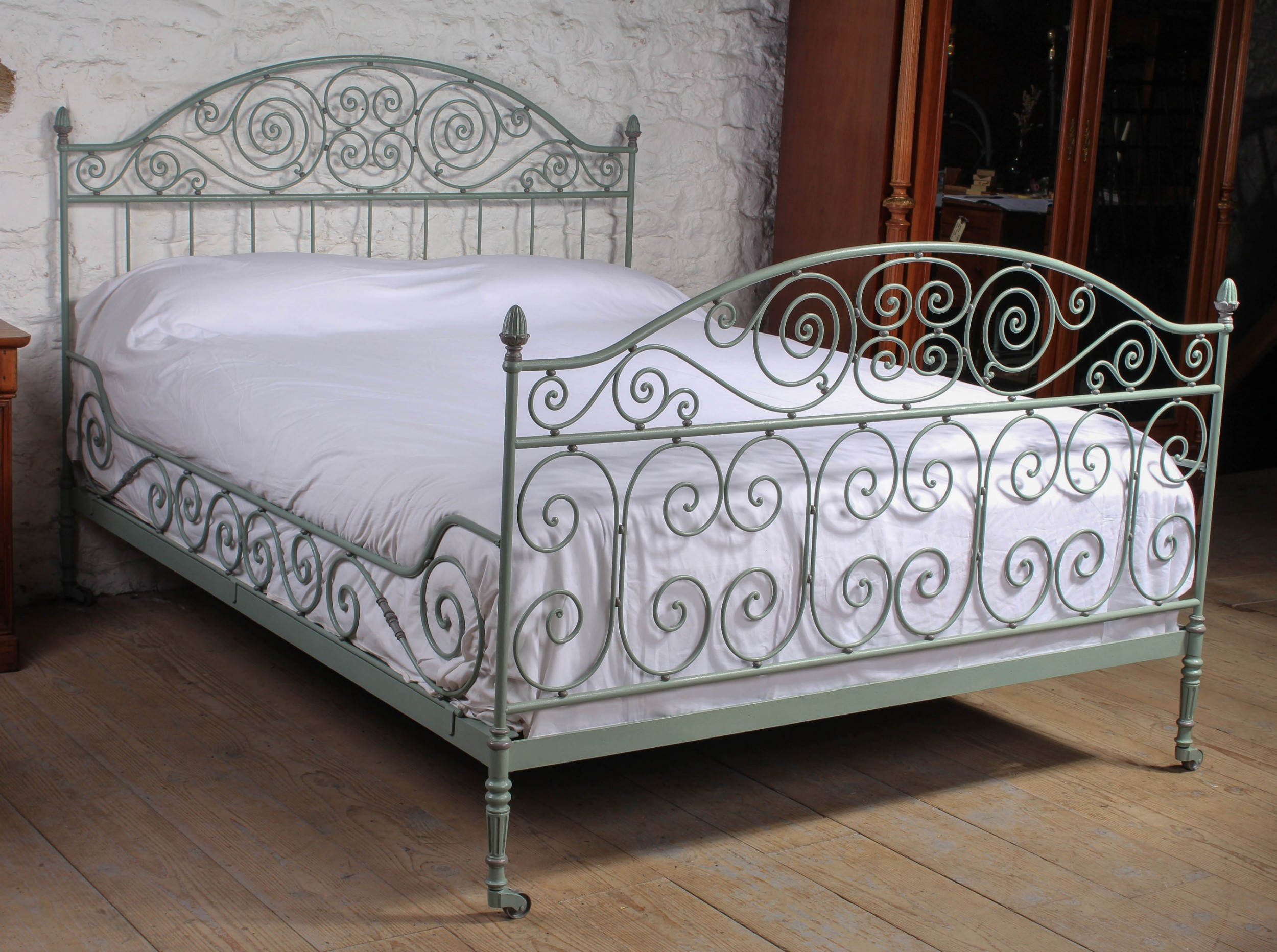 beautiful and unusual hand forged and painted wrought iron french king size bed