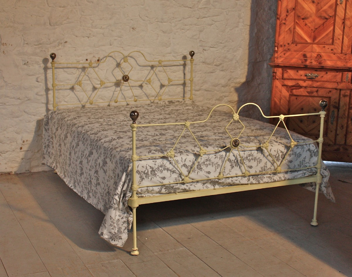 Early Victorian Double Aged Cream Iron Low Height Bed