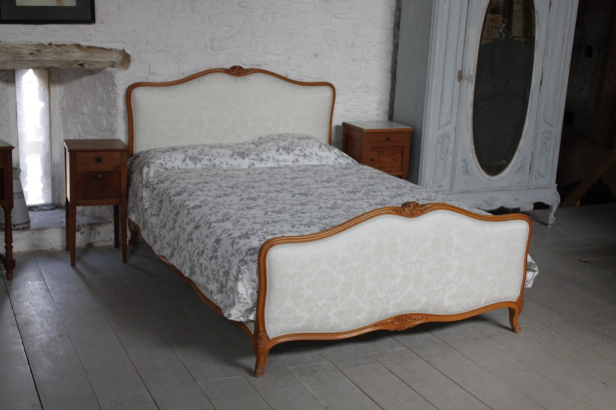 French King Size Upholstered Bed Louis Xv Style With Wood