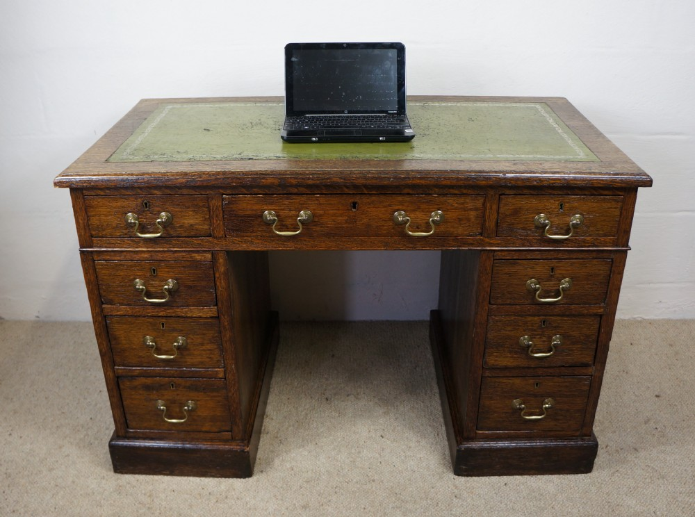 Antique Late Victorian Edwardian Oak Leather Home Office Twin Pedestal Desk 255121