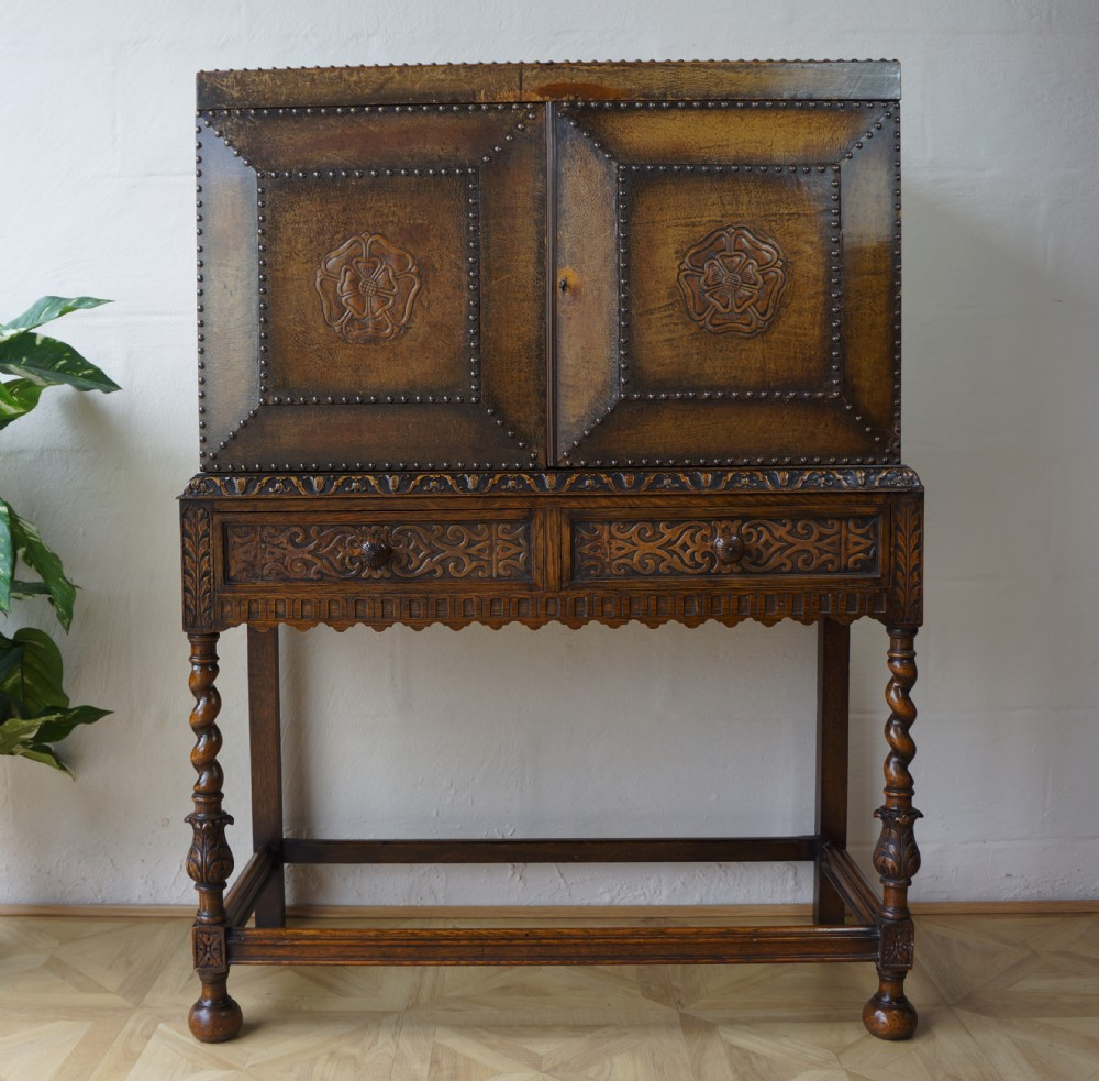 C1930 antique carved oak studded brown leather arts crafts for Carved kitchen cabinets