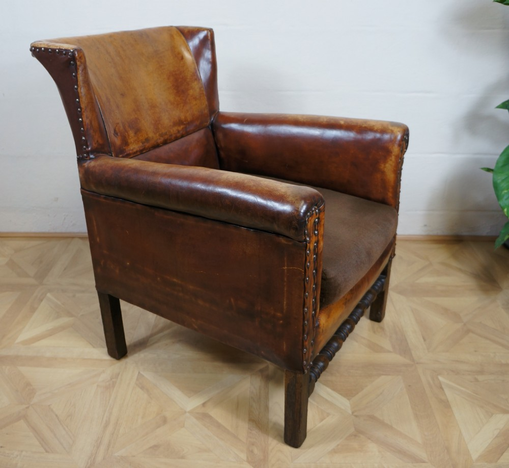 antique c1920s chestnut conker brown leather oak wing