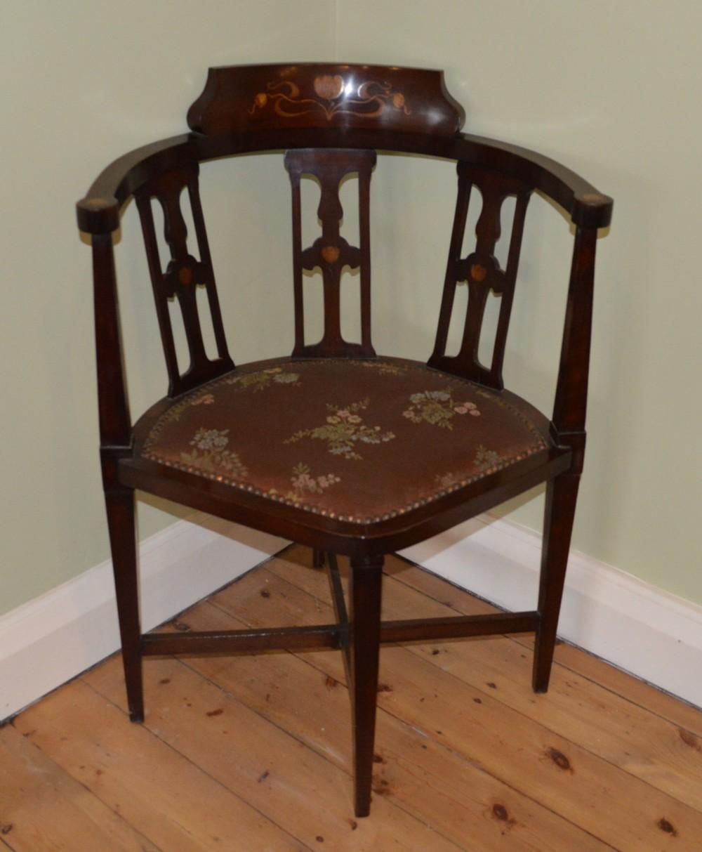 art nouveau corner chair mahogany 255527