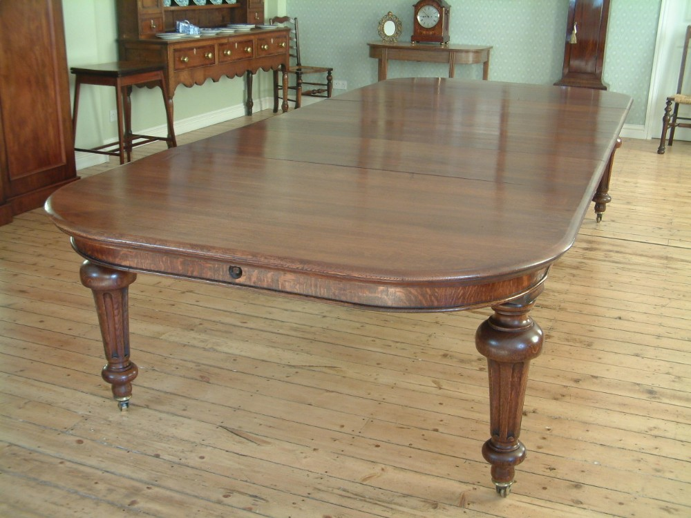 Victorian Oak Extending Dining Table Seats 12 14 252645 Sellingantiques