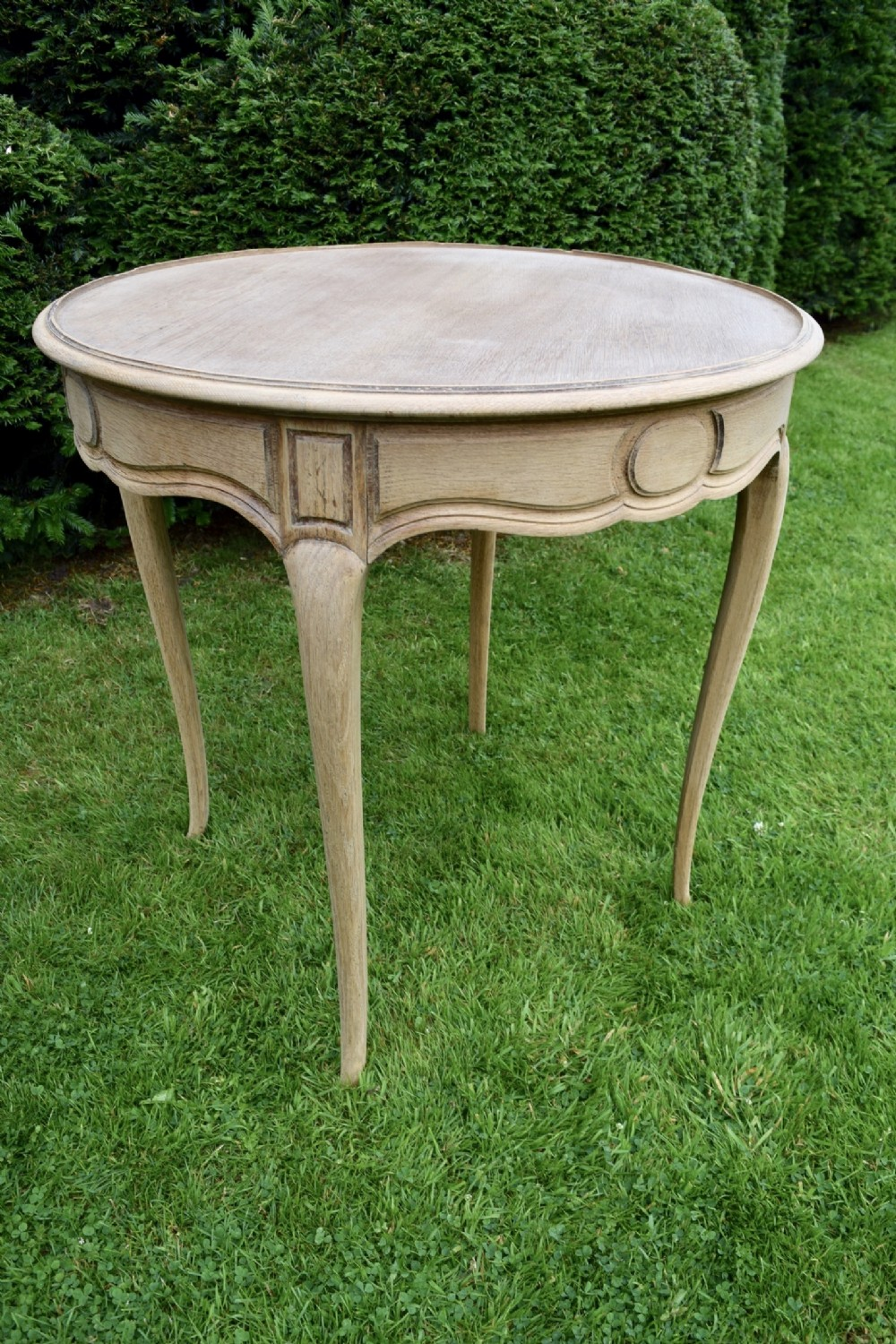 bleached oak french lamp table