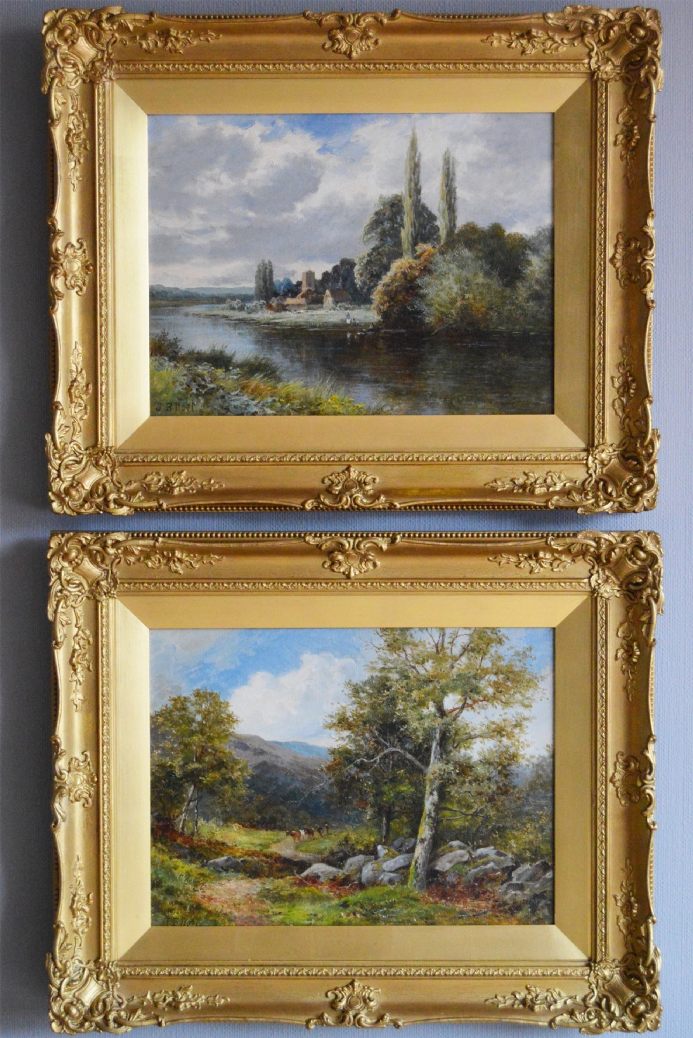 pair of landscape oil paintings of the river avon the berwin valley by john bates noel