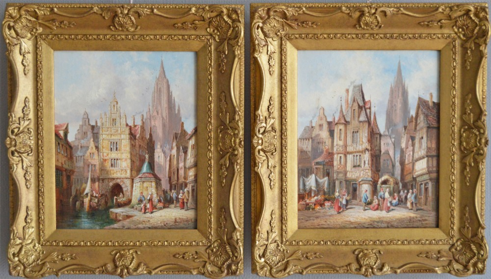 pair of french townscape oil paintings by henry schafer
