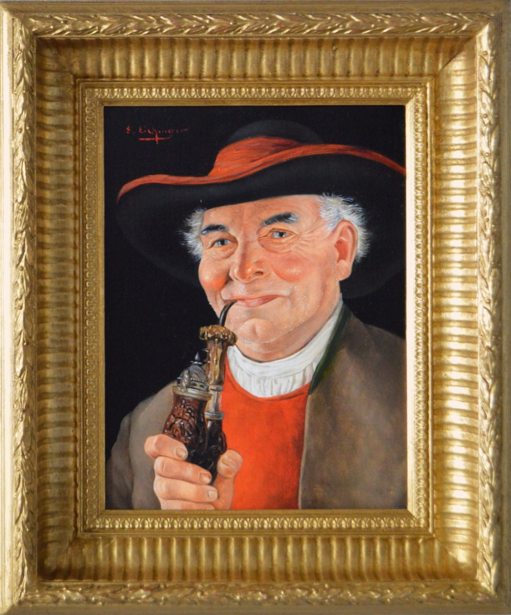 portrait oil painting of an austrian gentleman with a pipe by erwin eichinger