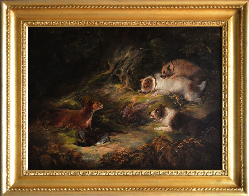 landscape sporting oil painting of terriers fox by edward armfield
