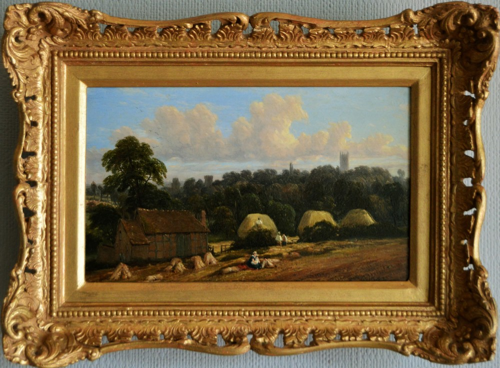 LANDSCAPE OIL PAINTING OF A HARVEST SCENE BY THOMAS BAKER OF LEAMINGTON , what is a partners desk, arts and crafts chandeliers antique,
