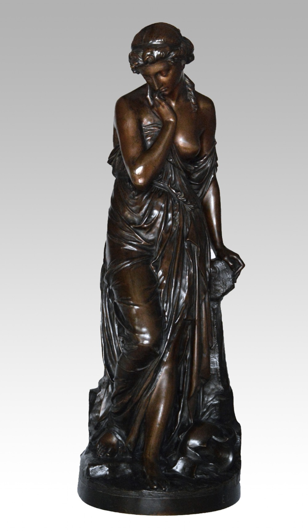 19th century bronze sculpture of a woman with a broken pot by emilefrancois carlier