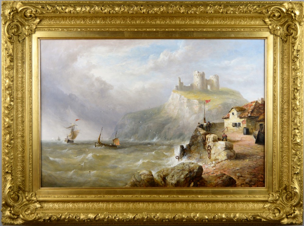 seascape oil painting of ships off criccieth castle north wales by henry king taylor