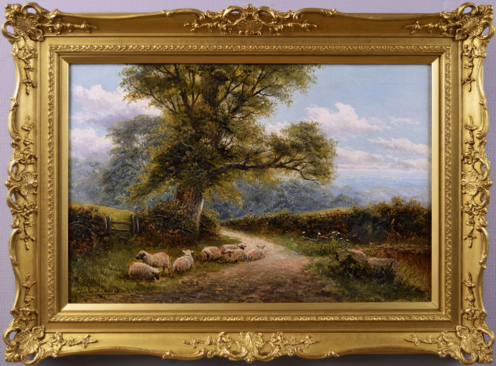 landscape oil painting of sheep in a lane by charles henry passey
