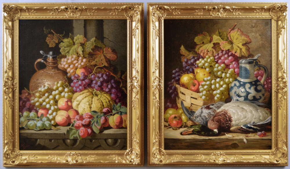 pair of still life oil paintings of fruit and game by charles thomas bale