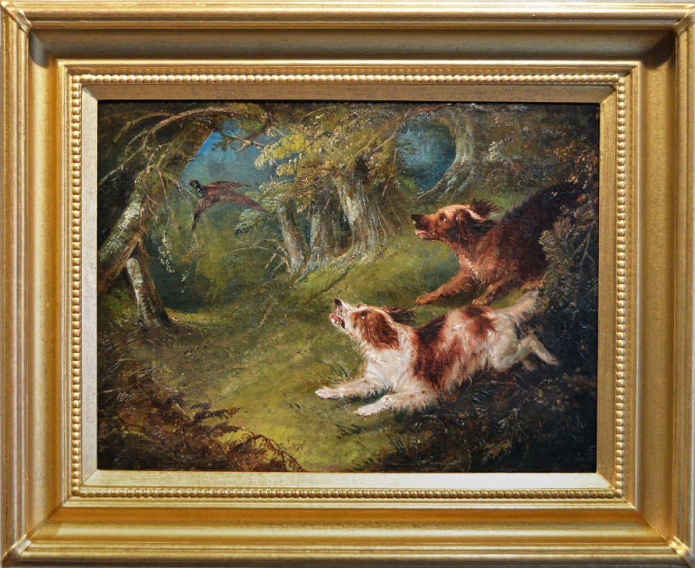 landscape sporting oil painting of spaniels hunting by george armfield