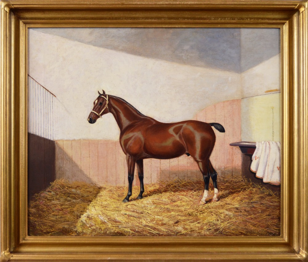 oil painting of a horse in a stable by albert clark