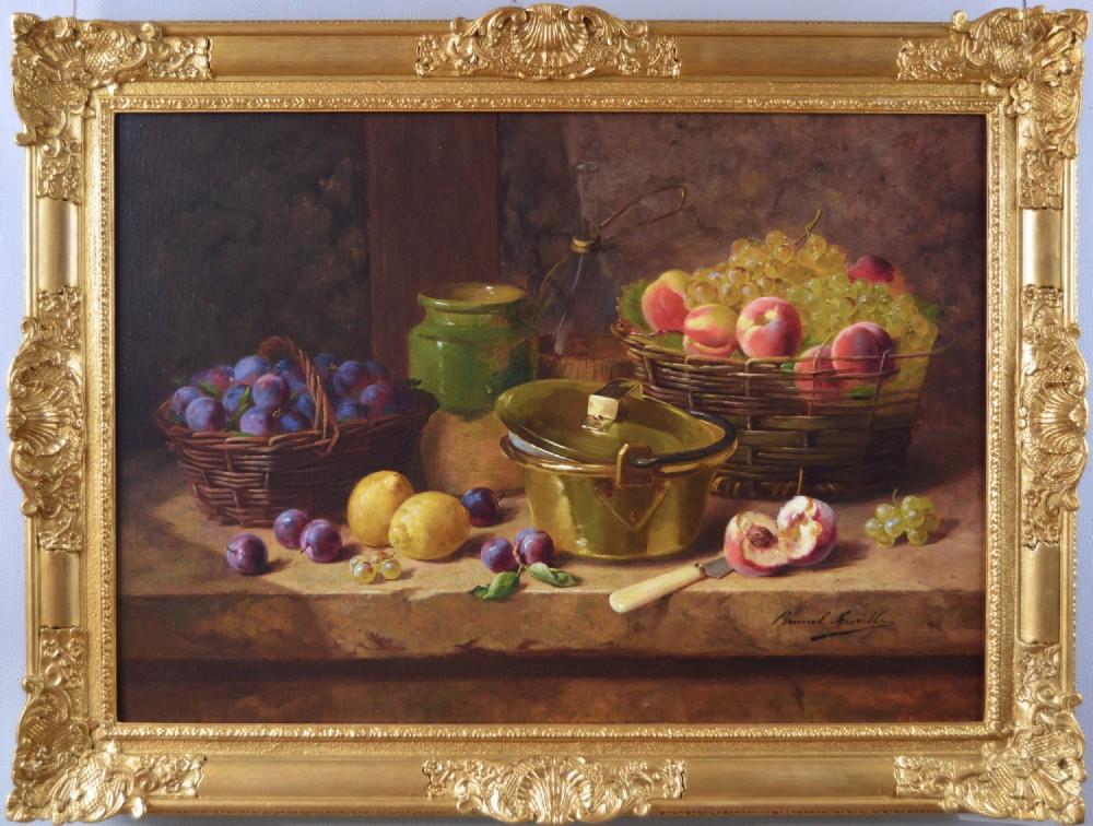 still life oil painting of fruit by alfred arthur brunel de neuville