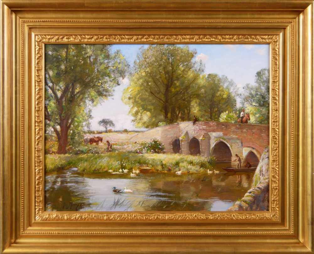 landscape oil painting of a bridge by sir david murray