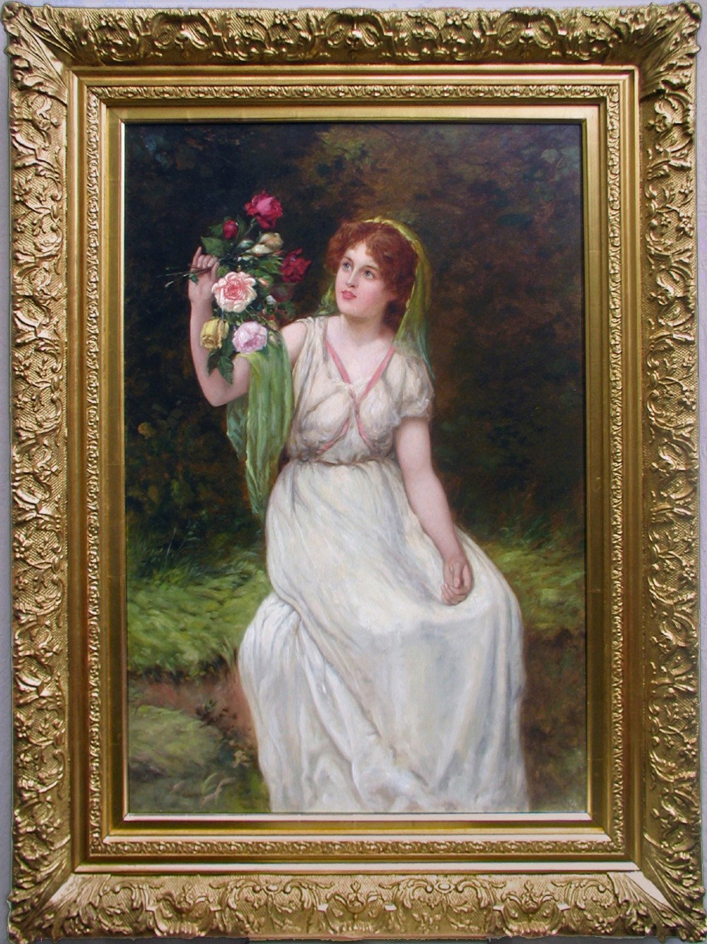 genre oil painting of a maiden holding flowers by william oliver