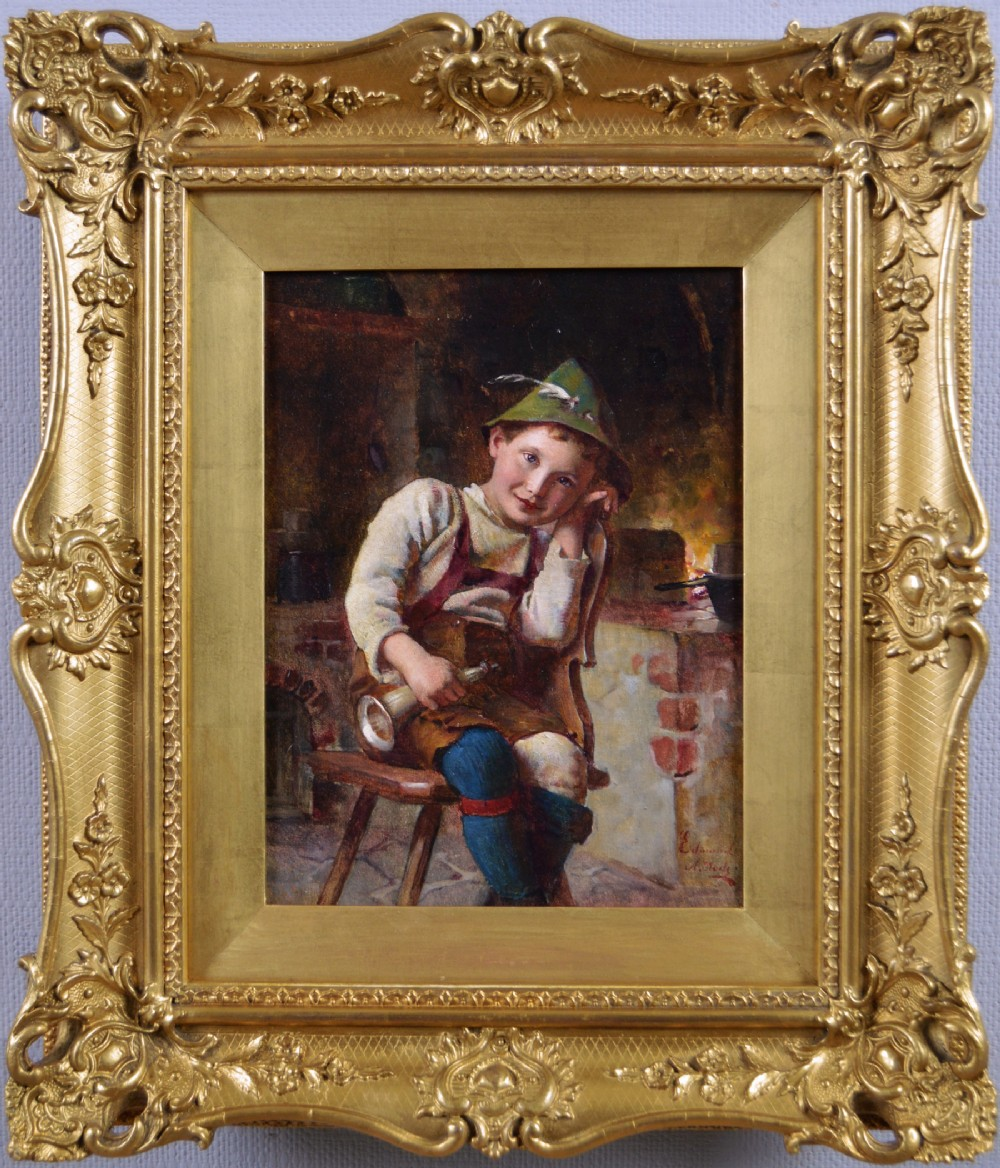 genre oil painting of young boy by edmund adlerrode