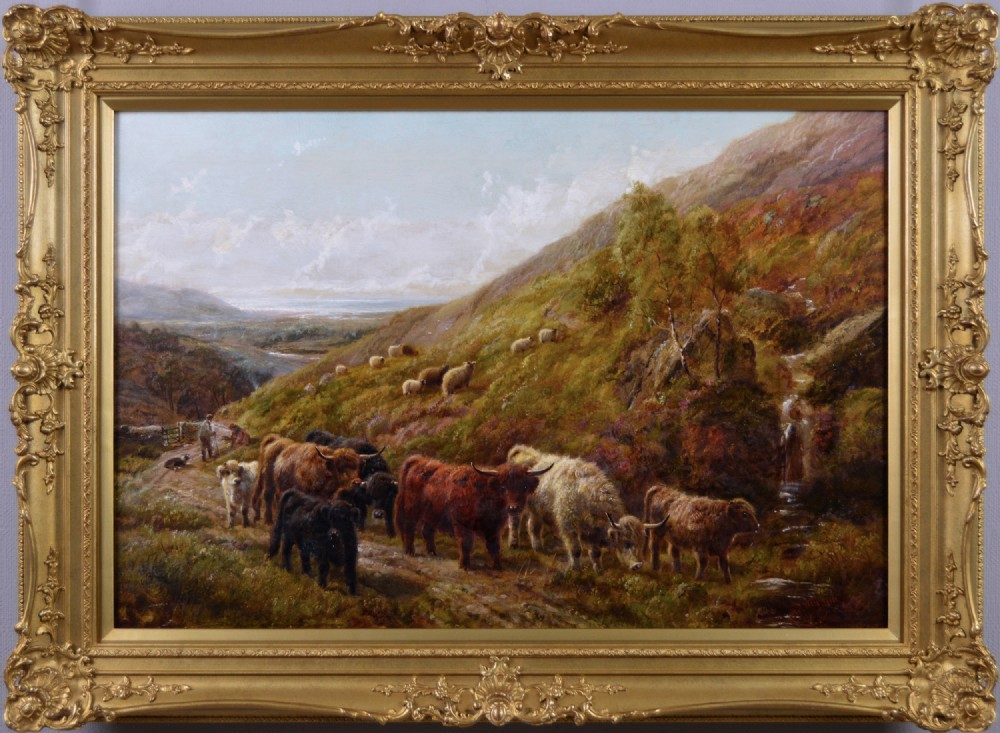 scottish landscape oil painting of highland cattle near a coast by robert watson