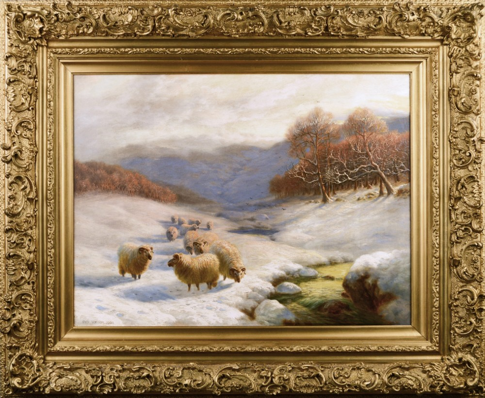 scottish winter landscape oil painting with sheep by sydney arthur watson