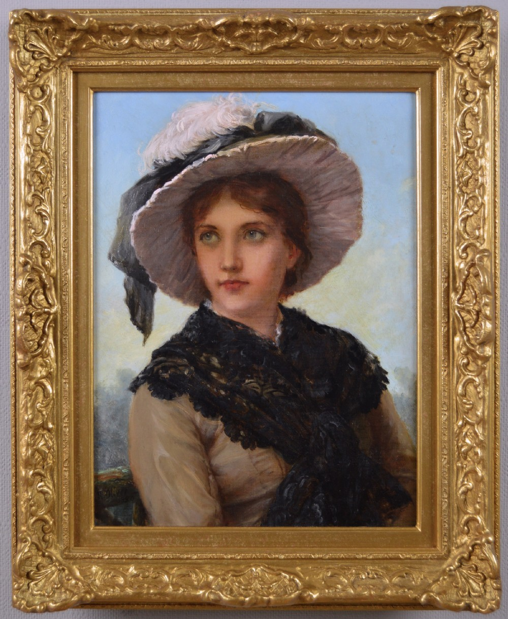 portrait oil painting of a young woman by william oliver