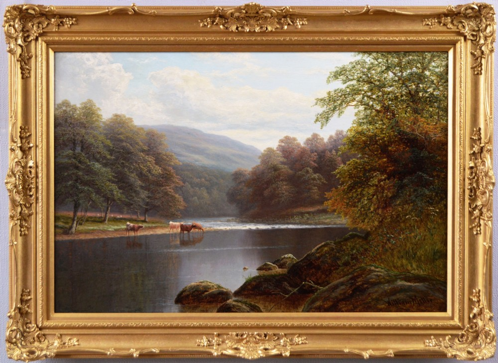 yorkshire river landscape oil painting by william mellor