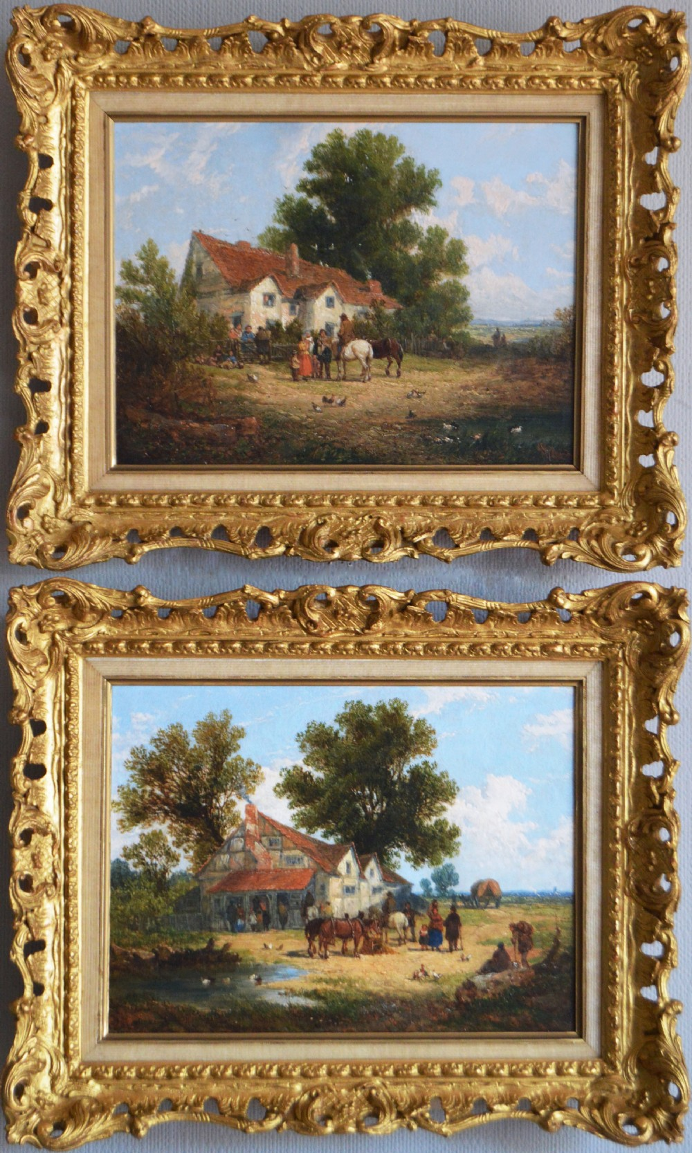 landscape oil paintings of a village by john holland snr