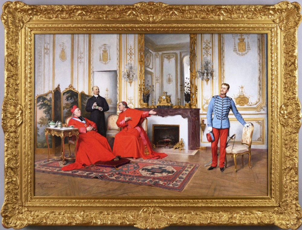 genre oil painting of cardinals and a soldier by henri adolphe laissement