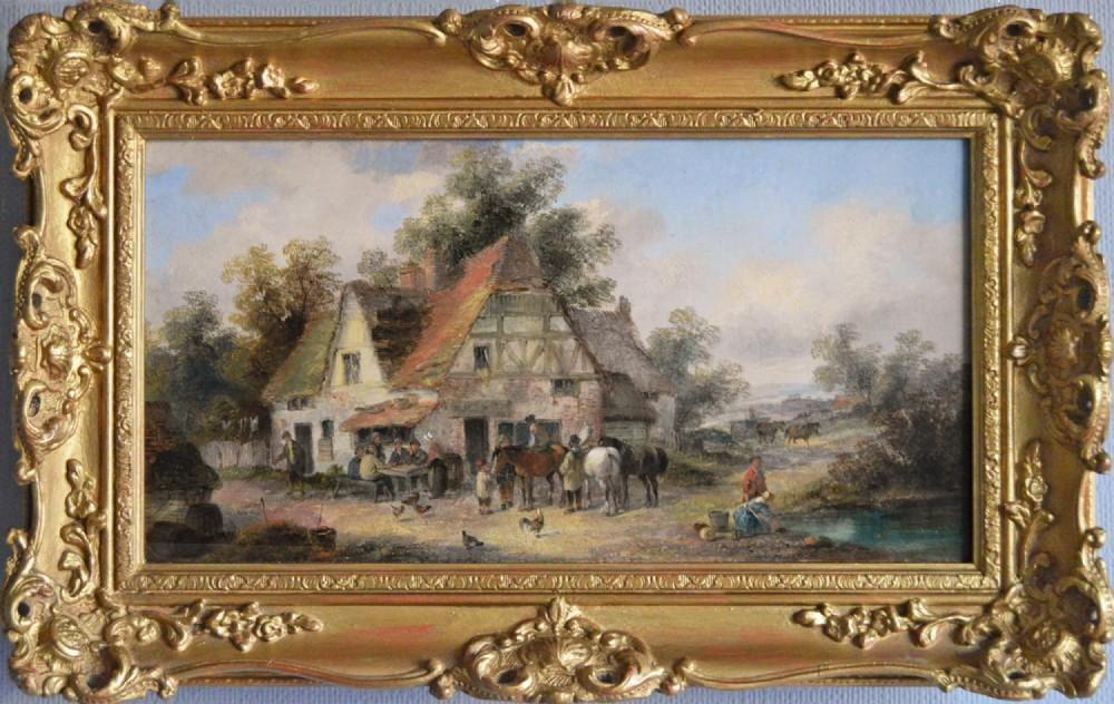 landscape oil painting of a village by georgina lara