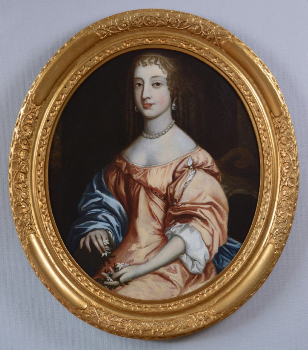 portrait oil painting of a lady 17th century circle of sir peter lely