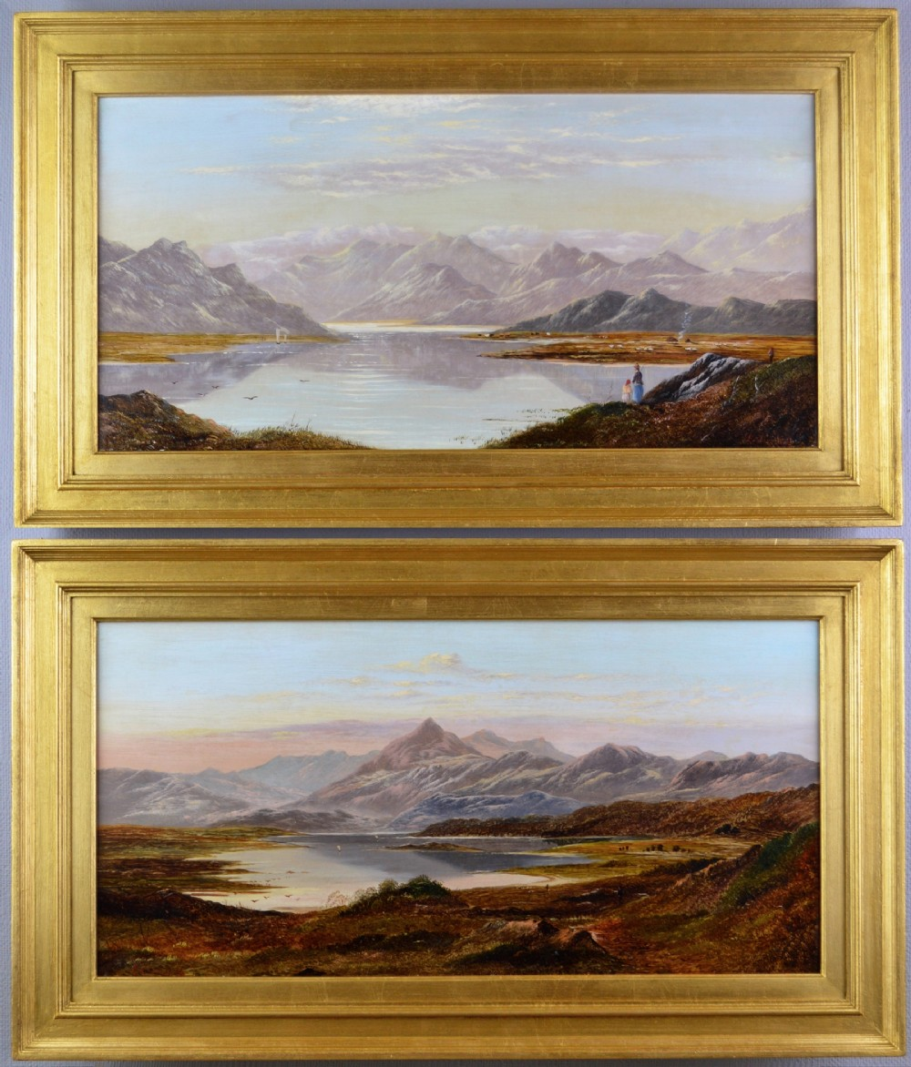 pair of landscape oil paintings of mountain lakes by charles leslie