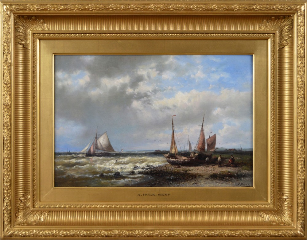 seascape oil painting of fishing boats off the dutch coast by abraham hulk snr