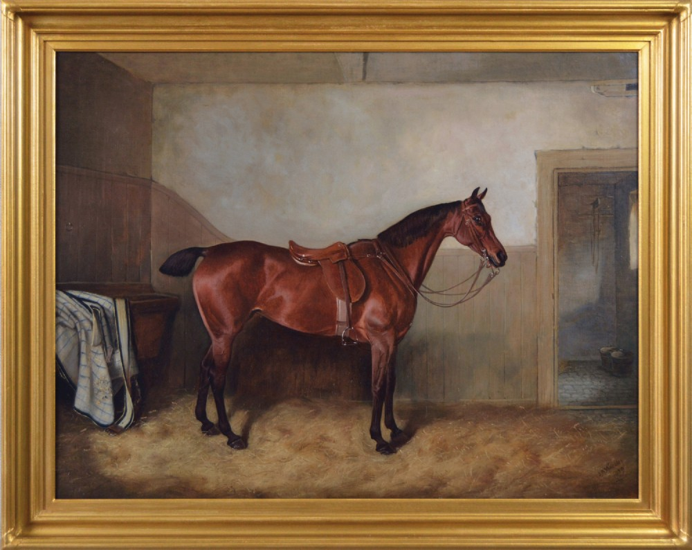 sporting horse portrait oil painting of a bay hunter in a stable by john alfred wheeler